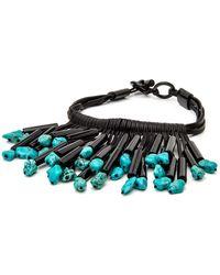 Nest - Black Leather Turquoise Fringe Necklace - Lyst