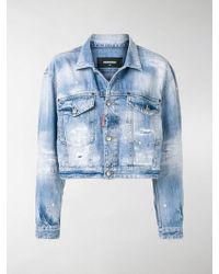DSquared² - Cropped Distressed Denim Jacket - Lyst