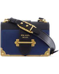 0009c4aedbb8 germany prada cahier bag blue 5d708 91d8a  low cost prada cahier two tone leather  bag lyst 47c2a c843a