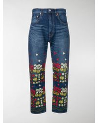 Junya Watanabe Floral Embroidered Jeans - Blue