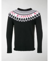 Givenchy - Patterned Wool Logo Sweater - Lyst