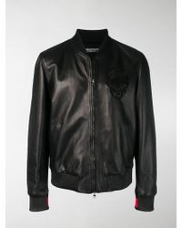 fccd15c5a43 Alexander McQueen Embroidered Skull And Flower Bomber Jacket in Blue for Men  - Lyst