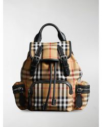 Burberry - Yellow, Black And White The Small Rucksack In Vintage Check And Leather Bag - Lyst