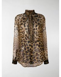 ef21a0bdb0348e Lyst - Saint Laurent Leopard-print Silk Tie-sleeve Blouse in Red