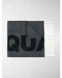 DSquared² - Fringed Intarsia Logo Scarf - Lyst