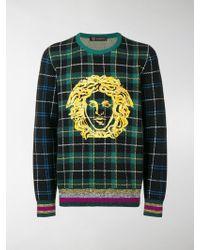 Versace - Logo-embroidered Tartan Wool Sweater - Lyst