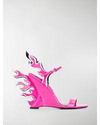 Prada - Flame Wedge Sandals - Lyst