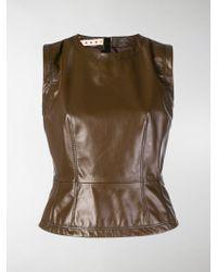 Marni - Leather Sleeveless Top - Lyst