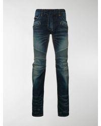 Balmain Tapered Biker Jeans - Blue