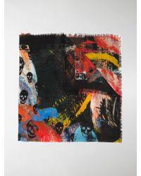 Alexander McQueen - Painted Skull Print Scarf - Lyst