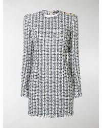 f392b3a4 Balmain Tweed Fitted Minidress in Blue - Lyst