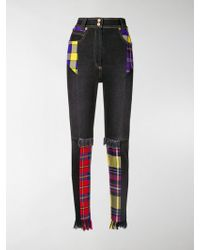Versace - High Waist Jeans With Tartan Wool Patches - Lyst