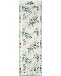 St. John - Sale Painted Leaves Print Crinkle Silk Georgette Scarf - Lyst