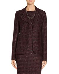 St. John - Sale Scalloped Sequin Tweed Knit Jacket - Lyst