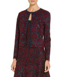 St. John - Sparkle Velvet Jacquard Knit Cardigan - Lyst