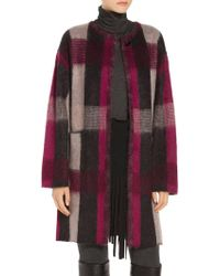St. John - Brushed Line Plaid Mohair Wool Blend Knit Jacket - Lyst