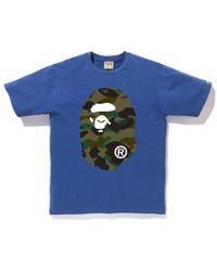 a7291ec8 Lyst - A Bathing Ape Color Camo Ape Face Tee White/blue in Blue for Men