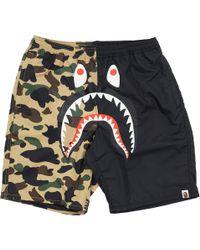 9713d0b36d A Bathing Ape Half 1st Camo Shark Beach Shorts Green/grey for Men - Lyst