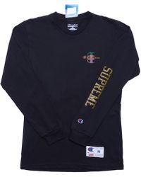 Supreme - Champion Stacked C L/s Tee Black - Lyst
