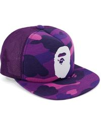 634bdfc728c Lyst - A Bathing Ape 1st Camo Bape Outline Snapback in Green for Men