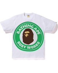 b121e215 A Bathing Ape Pigment Bicolor Big Busy Works Tee White in White for Men -  Lyst