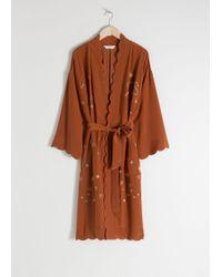 & Other Stories - Scalloped Silk Kimono Robe - Lyst