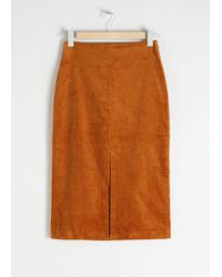 & Other Stories - Front Slit Corduroy Midi Skirt - Lyst