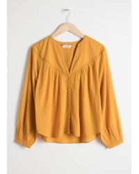 & Other Stories - Cotton Peasant Blouse - Lyst