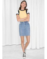 & Other Stories - Raw Hem Denim Pencil Skirt - Lyst