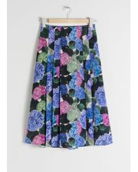 & Other Stories - Floral Pleated A-line Midi Skirt - Lyst