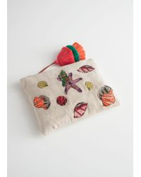 & Other Stories - Woven Embroidered Seashell Clutch - Lyst