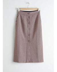 & Other Stories - Houndstooth Button Down Pencil Skirt - Lyst