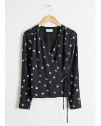 & Other Stories - Metallic Leaf Wrap Blouse - Lyst