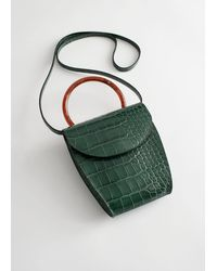 & Other Stories Resin Handle Mini Croc Bag - Green