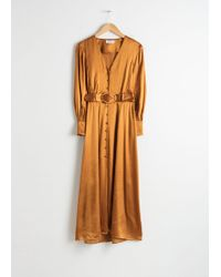 & Other Stories - Belted Satin Maxi Dress - Lyst