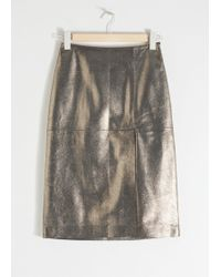 & Other Stories - Metallic Leather Pencil Skirt - Lyst