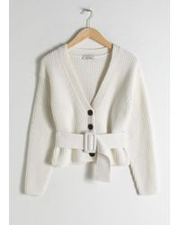 & Other Stories - Belted V-Neck Cotton Cardigan - Lyst