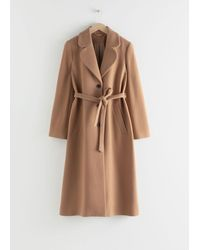 & Other Stories A-line Wool Blend Belted Coat - Natural