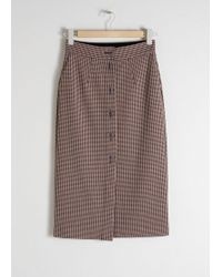 & Other Stories - Houndstooth Button Up Pencil Skirt - Lyst