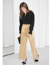 & Other Stories - Gold Metallic Trousers - Lyst