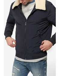 Stradivarius | Technical Bomber Jacket With Faux Fur Collar | Lyst