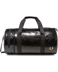 Fred Perry Authentic - Classic Barrel Bag - Black & Gold - Lyst