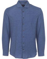 Hackett - Blue Prince Of Wales Flannel Shirt - Lyst