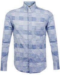 Naked & Famous - Naked And Famous Windowpane Blue Shirt - Lyst