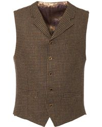 Gibson London - Taupe Muted Check Waistcoat - Lyst