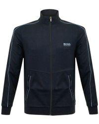 BOSS - Hugo Boss Jacket Zip Deep Blue Track Jacket - Lyst