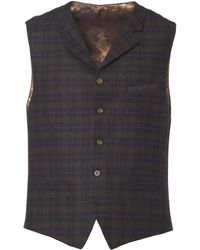 Gibson London - Green & Red Soft Check Waistcoat - Lyst
