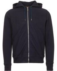 PS by Paul Smith - Dark Navy Organic-cotton Zip-front Hoodie - Lyst