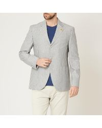 Gibson London - Blue And White Stripe Jacket - Lyst