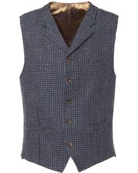 Gibson London - Blue Muted Check Waistcoat - Lyst
